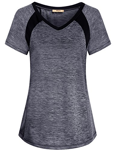 Miusey Yoga T Shirts for Women, Casual Athletic Sportstyle Vneck Collar Athlete Short Sleeve Sports Blouse Top Fitting Junior Workout Textured Simple Softest Grey L Athlete Short Sleeve Top