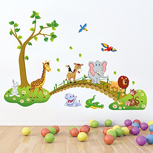 decalmile Jungle Animals Tree Wall Stickers Lion Giraffe
