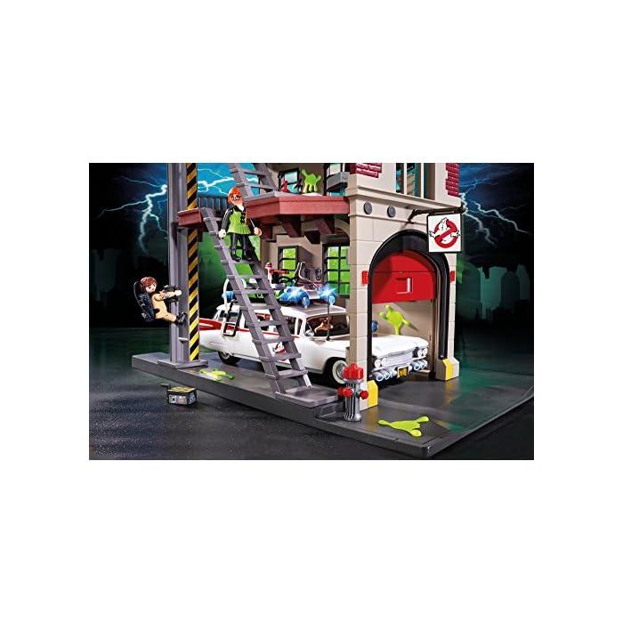 51AhJxKVn L Diversión para pequeños cazafantasmas: PLAYMOBIL Cuartel Parque de Bomberos de los Cazafantasmas con múltiples figuras, accesorios y funciones con gran detalle Trampa para fantasmas con bisagra, mochila de protones extraíble, poste deslizante y mucho más, múltiples habitaciones como el laboratorio, la oficina y el garaje para el Ecto-1 (9220) Juego de figuras para niños a partir de 6 años: óptimo para el tamaño de sus manos y bordes redondeados agradables al tacto