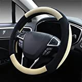 SEG Direct Beige Plush Winter Auto Car Steering Wheel Cover Universal 15 inch