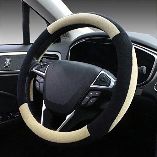 SEG Direct Beige Plush Winter Auto Car Steering Wheel Cover Universal 15 (Lexus Steering Wheels)