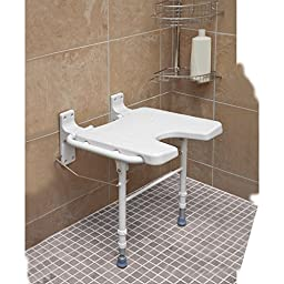 HealthSmart Wall Mount Fold Away Bath Chair Shower Seat Bench with Adjustable Legs, White
