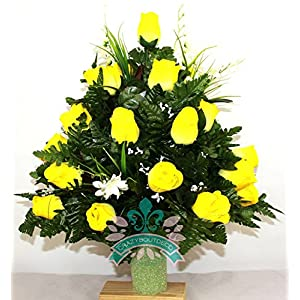 Beautiful XL Artificial Yellow Roses Cemetery Flower Headstone 3-Inch Vase Grave Decoration 9