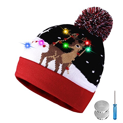 Tagvo Led Light Up Hat Beanie Knit Cap  6 Colorful Led Xmas Christmas Hat Beanie  Winter Snow Hat Sweater Ugly Holiday Hat Beanie Cap