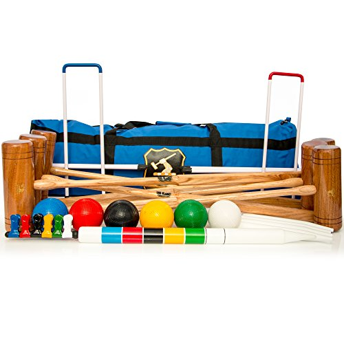 Wood Mallets Premium Garden Croquet Set, 6-Player in a Bag by Wood Mallets