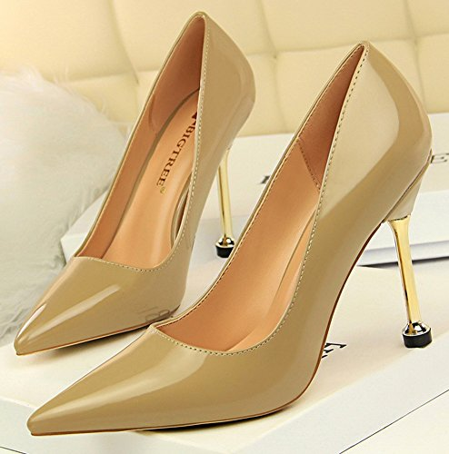 Aisun Womens Simple Professional Burnished Low Cut Dressy Pointed Toe Stiletto High Heel Slip On Pumps Shoes Khaki OLvuDl
