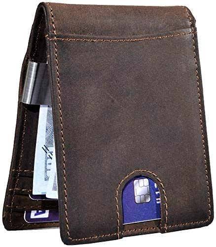 Easyoulife Men's RFID Slim Front Pocket Wallet with Money Clip Genuine Leather (A Brown)