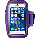 Sports Armband, iBarbe Pockets Workout Running ArmBag Armband Wide Fit for iphone 7,7 plus,6,6plus,5,5s,5c,Samsung Galaxy s7 s8,s8 Plus S5,S4,S3,Note 2 3 4 etc.inch smartphone (Purple)