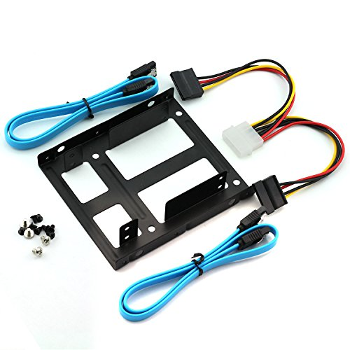 """Magic&Shell 2-Bay 2.5"""" to 3.5"""" Drive Bay Adapter Kit Converter Tray HDD SSD Mounting Bracket + IDE 4P Male to 2 SATA 15 Pin Female Power Extension Cable Splitter + 2 x SATA 3.0 Cable"""