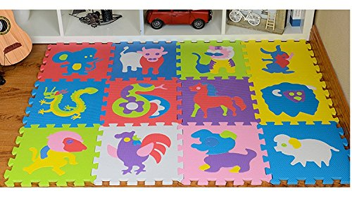 12 Animals Puzzle Carpet Children's Pad Game Pad Foam Pad Anti-skid Carpet Learn to Learn Face Effects Animals Puzzle