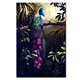 DINGDONG ART- Purple Peacock Canvas Wall Art Painting Framed Animal Poster Artwork Flower with Tree Picture for Living Room, Bedroom Decor 1 Pcs