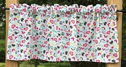 I Love My Tractor Hearts Butterfly Rainbow Peace Farm Country White Handcrafted Curtain Valance