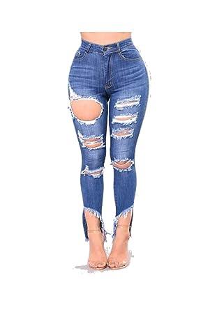 Damengxiang Elastische Frauen Enge Jeans Verschlissenen Bohrungen