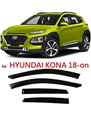 Tinted Tape-On Side Window Vent Visor Deflectors Rain Guards Compatible with Hyundai Kona 2018 – 2021 SE SEL Plus Night Limited Ultimate 2019 2020
