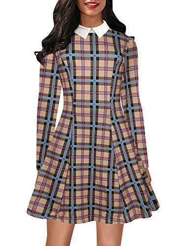 oxiuly Women's Vintage Classic Plaid Long Sleeve Doll Collar Party Cocktail A-Line Casual Midi Dress OX272 (2XL, Khaki Plaid) ()