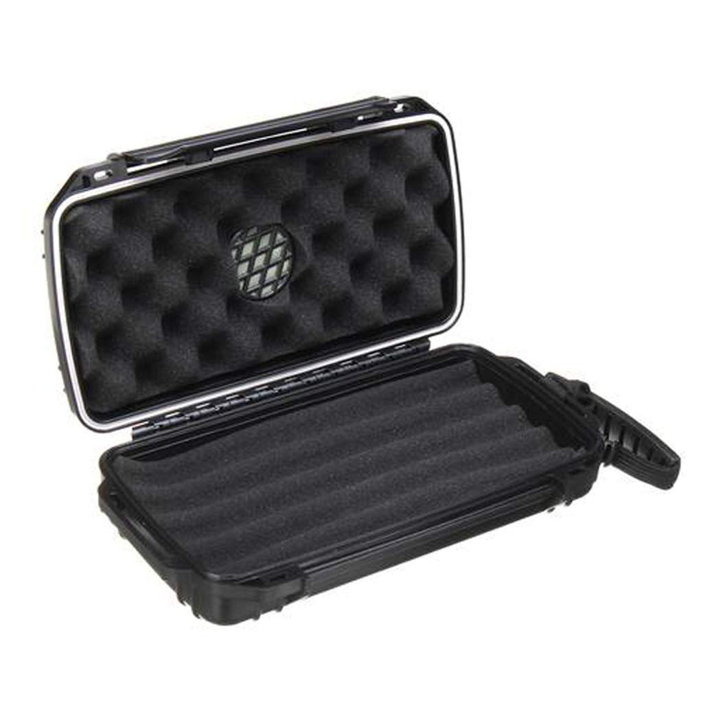 Cigar Box - Waterproof Dust-Proof Shockproof 5 Cigar Humidor Caddy Case Box Home Travel Excellent Material (Color : Black)