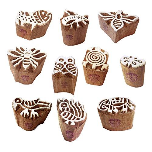 Tattoo Print Blocks Beautiful Small Animal Design Wood Stamps (Set of 10)
