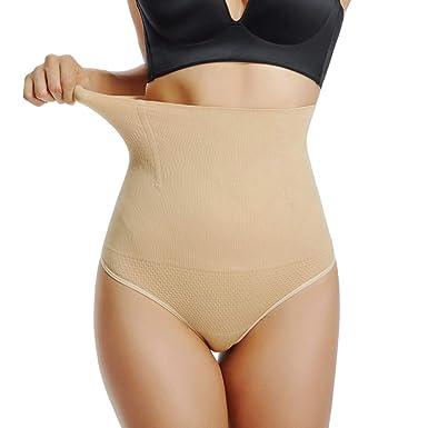 fccdb5b36aa High Waist Thong Shapewear for Women Tummy Control Underwear Slimming Body  Shaper Girdle Panty (Nude