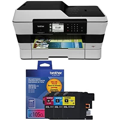 Brother MFCJ6920DW Wireless Multifunction Inkjet Printer with Scanner, Copier and Fax, Amazon Dash Replenishment Enabled and Brother LC1053PKS Ink Printer, XXL -3 Pack Bundle
