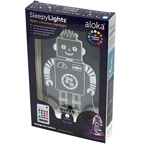 Sleepy Lights Robot LED Bedside Night Light with Remote, Multi-Color Changing, Battery or USB Powered, 7