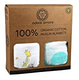 Adore Amore | 2-Pack Organic Cotton Muslin Swaddle Blankets | Baby Shower ...
