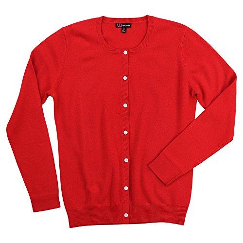 Women's 100% Cashmere Long Sleeve Crew Neck Cardigan Sweater (Red, Medium) ()
