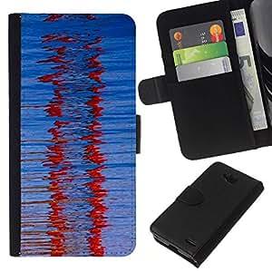 All Phone Most Case / Oferta Especial Cáscara Funda de cuero Monedero Cubierta de proteccion Caso / Wallet Case for LG OPTIMUS L90 // Red Winter Glass Refraction Blue Pattern