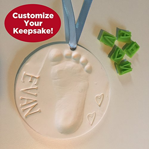 Large Product Image of Baby Handprint Keepsake Ornament Kit (Makes 2) - Bonus Customization Tool for Personalized Gifts & Display Stand! Non-toxic Clay. No Baking. Dries Light and Soft So It Won't Crack.