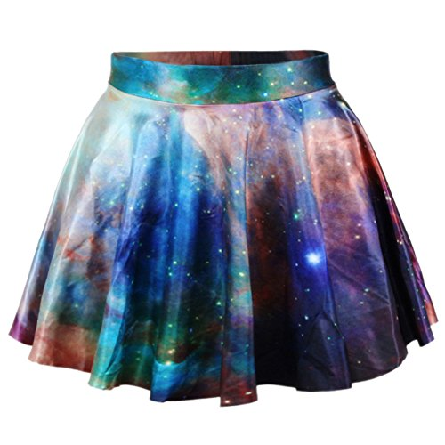 RAISEVERN Women's Galaxy Space 3D Printed Stretch Waist Flared Mini Skirt
