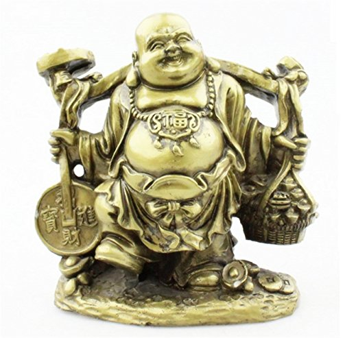 (xiulin Fengshui Resin Pick Money Buddha Laughing Buddha Wealth Lucky Statue Home Decoration Lucky red String Set)