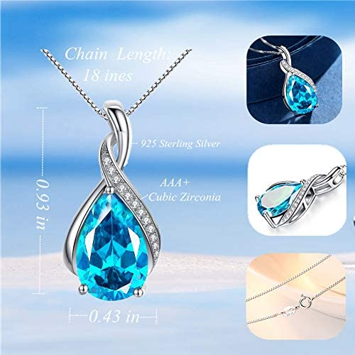 MABELLA Jewelry Sterling Silver Simulated Birth Month Stones Pendant Necklace Mothers Day Gifts for