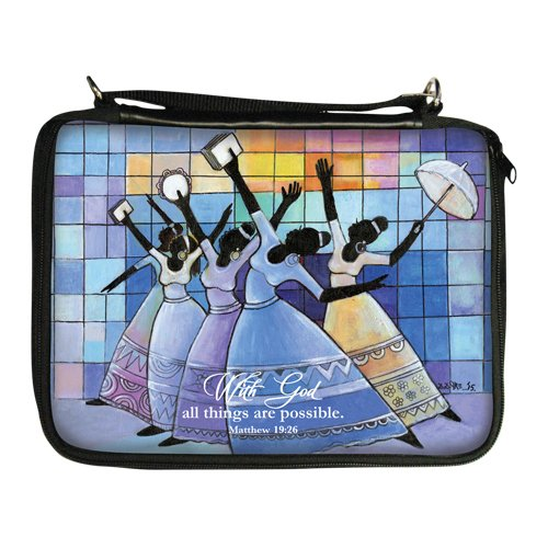 """Office Products : African American Expressions - With God/ Ladies Praising Bible Organizer (8"""" x 11"""", Removable shoulder strap included) BO-137"""