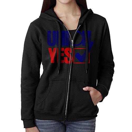 Womens Hoodie Sweatshirt Union Yes Sign Long Sleeve Zip-up Hooded Sweatshirt Jacket M
