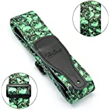 BestSounds Leather Guitar Strap Skull Design - Nylon Strap With Ties For Bass Electric & Acoustic Guitars (Skull-Green)