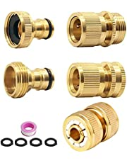 ConBlom 2 stuks waterslangaansluitingen, slangkoppeling, slangverbinder, 3/4 inch, messing snelkoppelingen, snelkoppeling, slangaansluitingen voor binnen en buiten, 2 stuks