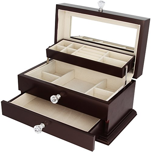 Real Natural Hardwood Wooden Jewelry Box (1-ZH-WJC3BK) by Kendal (Image #8)