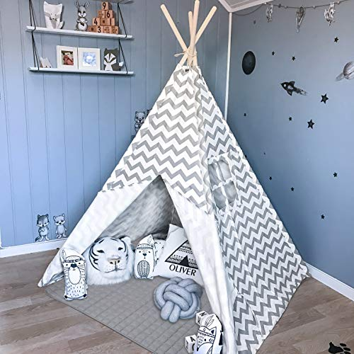 Tiny Land Teepee Tent for Kids with Padded Mat- Play Tent for Boy Girl Indoor & Outdoor, Gray Chevron Heavy Cotton Canvas Teepee (Best Dry Iron Box In India)