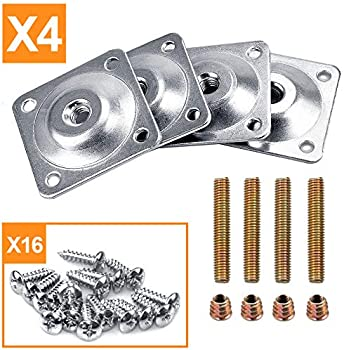 4 Furniture Mounting Hardware for wooden legs tier shelves making woodworking metal top plates set of 4 home shop garage screw mounting