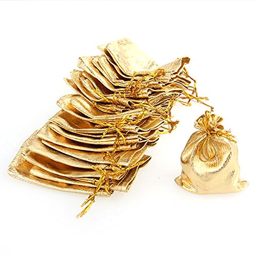 VORCOOL Soft Drawstring Gift Bags Wedding Favor Candy Bags Jewelry Pouches 79cm 100pcs (Golden)