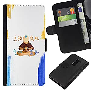 """A-type (Airbender"""") Colorida Impresión Funda Cuero Monedero Caja Bolsa Cubierta Caja Piel Card Slots Para LG G2 D800"""