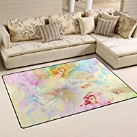 DEYYA Custom Angel Coming The Christmas To Send Wishes Non-slip Area Rugs Pad Cover 60 x 39 Inch, Art Throw Rugs Carpet Modern Carpet for Home Dining Room Playroom Living Room Decoration
