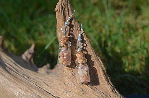 - Peach Moonstones in Delicate Glass Vial Earrings