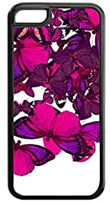 Butterfly Cluster-(Purples)-Case for the APPLE IPHONE 5, 5s-NOT THE 6 4.7''!!!-Hard Black Plastic Outer Case with Tough Black Rubber Lining by icecream design