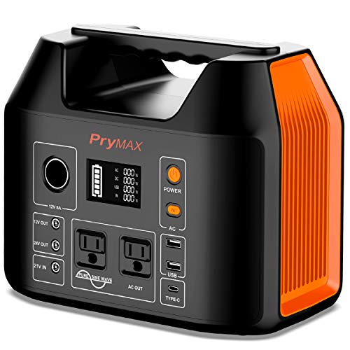 PRYMAX Portable Power Station, 555Wh Solar Generator 500W CPAP Backup Lithium Battery Pack with LED Flashlight,110V/500W Pure Sine Wave,AC Outlet, QC3.0 USB,for Outdoors Camping Travel RV Power Outage
