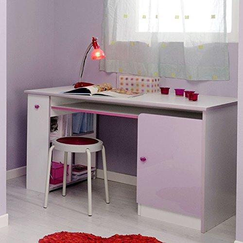 Puerta de escritorio 121 x 74 x 62 cm blanco lila PC-mesa de juego ...