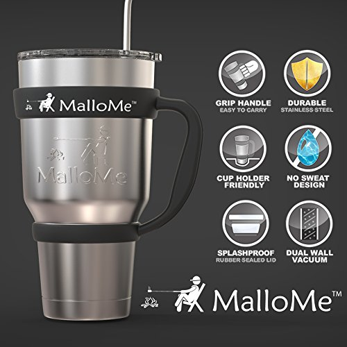 MalloMe Stainless Steel Vacuum Insulated 30 oz Water & Coffee Cup Tumbler Travel Mug, 6 Piece Set by MalloMe (Image #4)