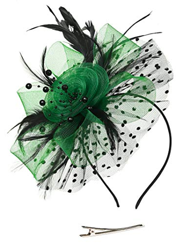 Fascinators Headband Tea Party Hats for Women Royal Wedding Hat Feather Mesh Hair Clip (1-Black and Green)