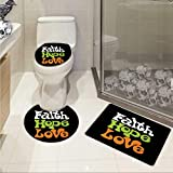 Carl Morris Hope 3 piece toilet mat set Vintage Sixties Inspired Hand Lettering Faith and Love Message with Religious Themes Elongated Toilet Lid Cover set Multicolor