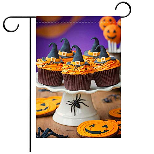 Artistically Designed Yard Flags, Double Sided A Plate of Halloween Cupcakes with Orange Frosting Best for Party Yard and Home Outdoor Decor -