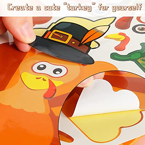 LOVESTOWN 24 PCS DIY Turkey Stickers, Make-A-Turkey Stickers Thanksgiving Turkey Craft Kids Thanksgiving Games Supplies for Fall Theme Party Window Decor